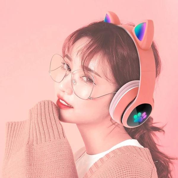 Tai nghe chụp tai B39 Cat Ear-đèn LED bluetooth 5.0
