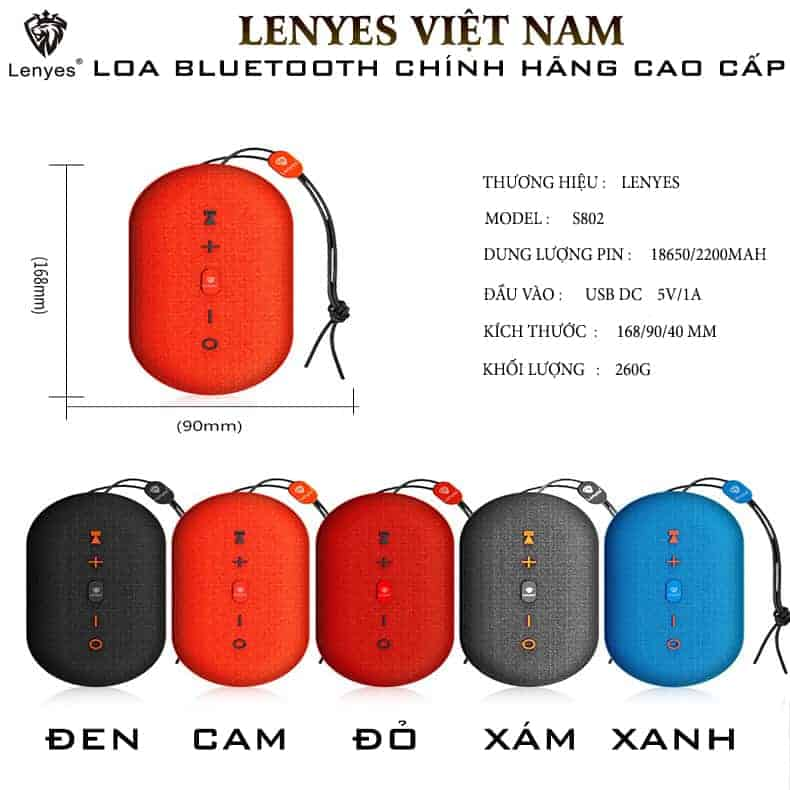 Loa Bluetooth Chống Thấm Lenyes S802 – Loa Bluetooth Cầm Tay   8