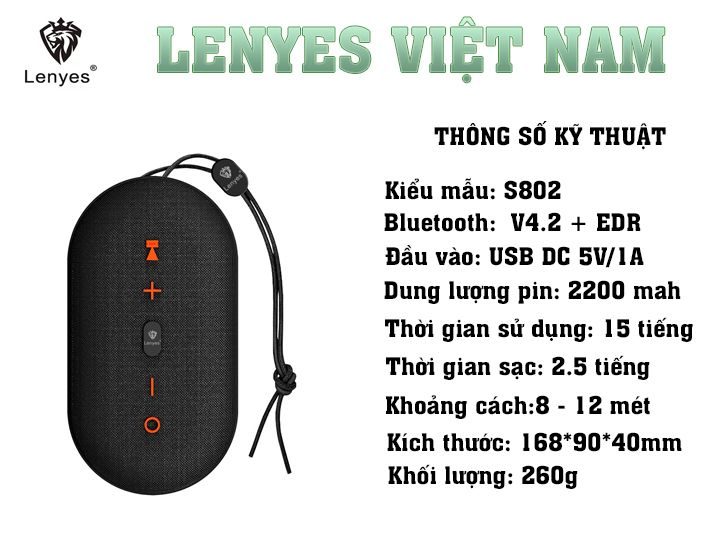 Loa bluetooth chống thấm Lenyes S802
