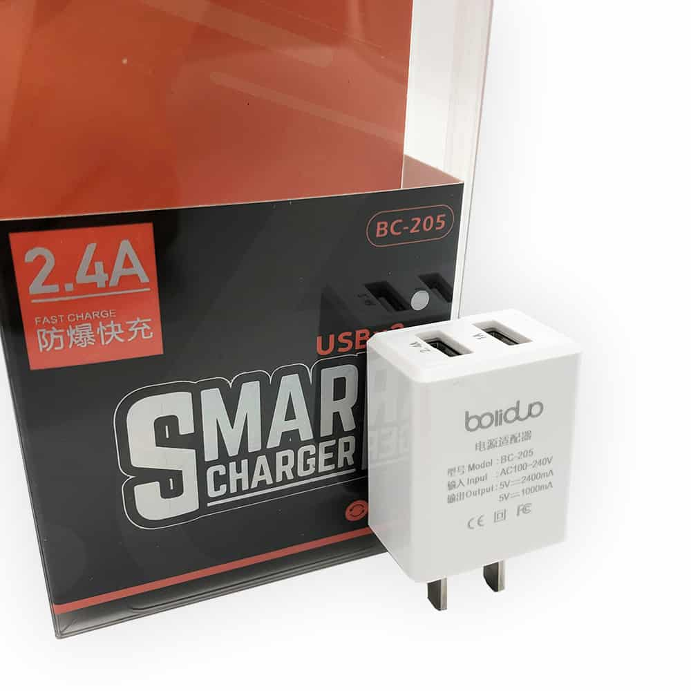 Củ Sạc Thông Minh 2 Cổng USB Boliduo BC-205 - Hỗ Trợ Sạc Nhanh 2.4A 18
