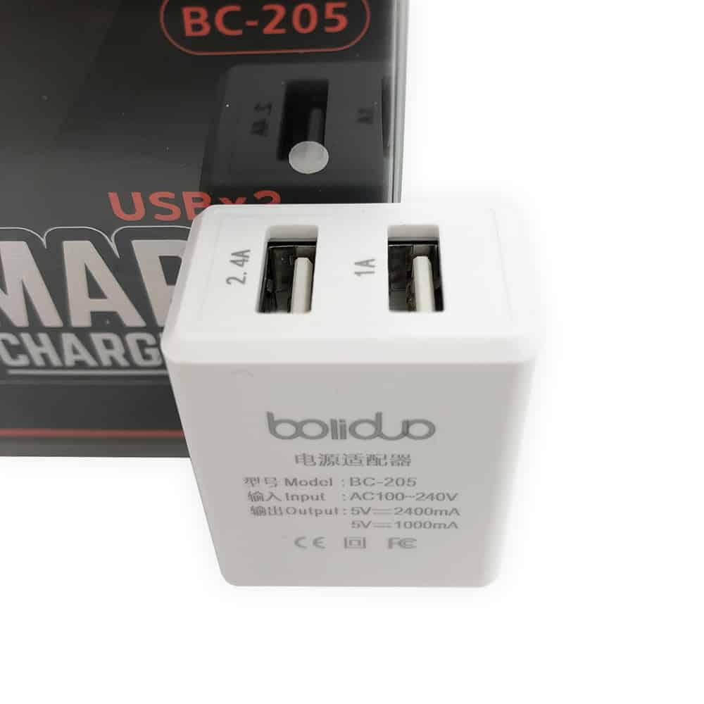 Củ Sạc Thông Minh 2 Cổng USB Boliduo BC-205 - Hỗ Trợ Sạc Nhanh 2.4A 3