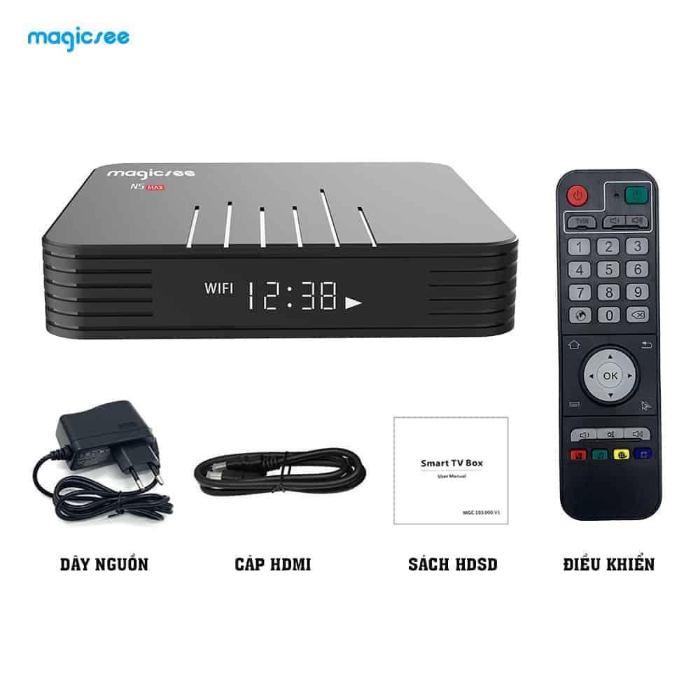 Bộ sản phẩm Tivi box N5 Max bao gồm