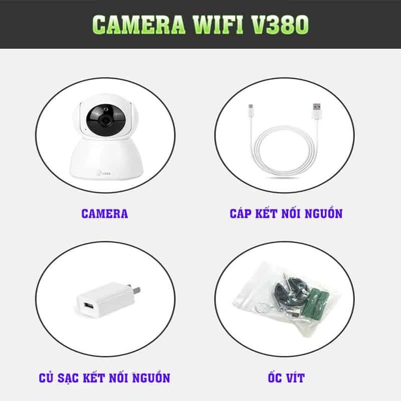 Thiết kế đơn giản của Camera Giám Sát WIFI V380 Q10 Ăng-Ten Ngầm