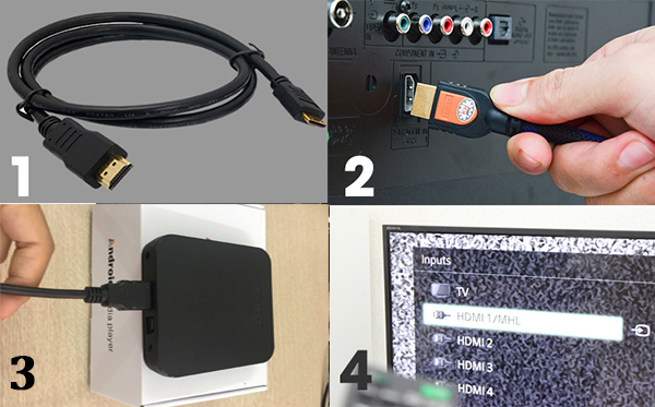 Kết nối Android Tivi Box KM9 với tivi qua cáp HDMI