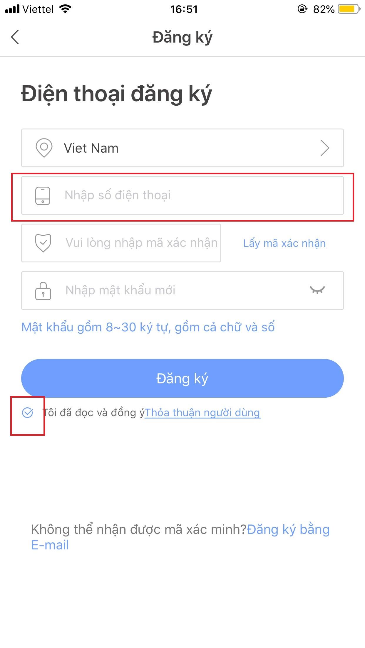 Giao diện đăng kí tài khoản Yoosee