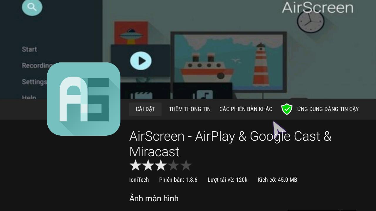Giao diện phần mềm Air Screen tải về trên box