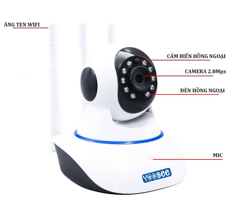 Camera giám sát Yoosee trong nhà với 10 đèn hồng ngoại