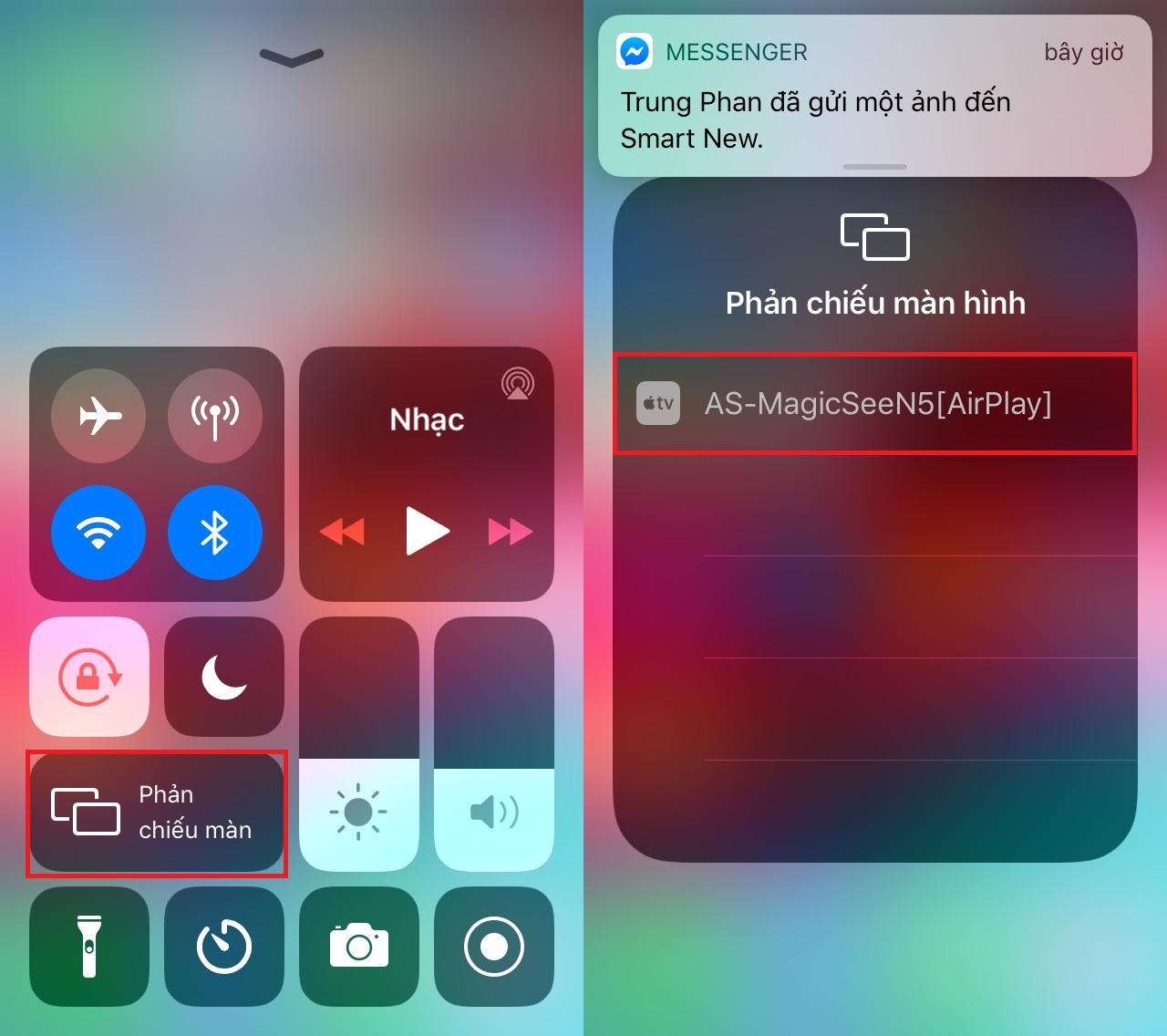 Giao diện hiển thị kết nối trên IPhone